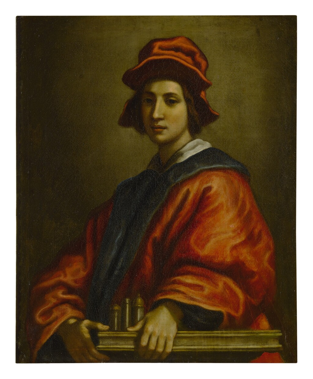 FRANCESCO CURRADI     PORTRAIT OF A YOUNG MAN, POSSIBLY AN ARCHITECT, HALF LENGTH, WEARING A RED HAT AND ROBE