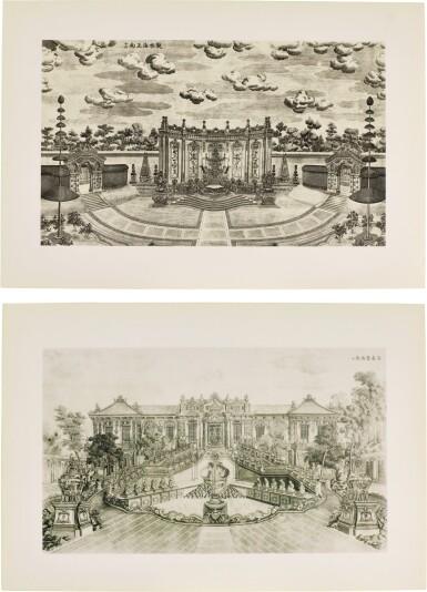 View 1. Thumbnail of Lot 362. A SET OF TWENTY PRINTS OF PALACES, PAVILIONS AND GARDENS AT YUANMING YUAN | 巴黎、1977年 《郎世寧圓明園西洋樓》 一組二十幅 水墨紙本.