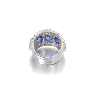 View 3. Thumbnail of Lot 1152. Sapphire and diamond ring.