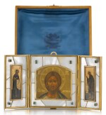 A GEM-SET SILVER-GILT AND MOTHER OF PEARL TRAVELLING TRIPTYCH ICON, OLOVYANISHNIKOV AND SONS, MOSCOW, 1908-1917