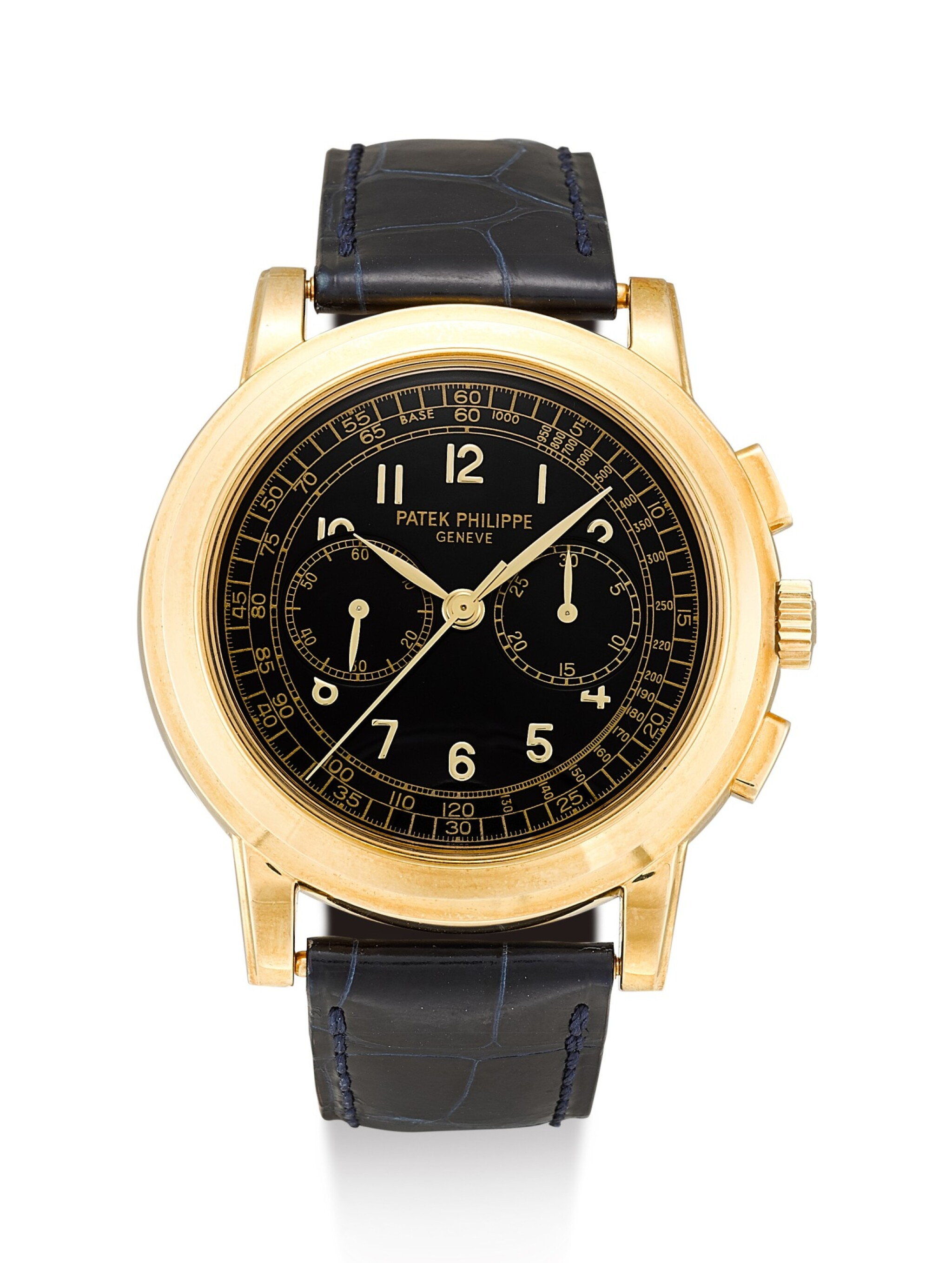 View 1 of Lot 161. PATEK PHILIPPE | REFERENCE 5070,  A YELLOW GOLD CHRONOGRAPH WRISTWATCH, CIRCA 1999.