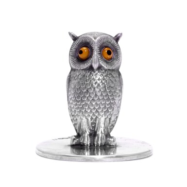 View 2. Thumbnail of Lot 34. A set of twelve silver and glass owl menu holders, S. Mordan & Co., Chester, 1905-1912.