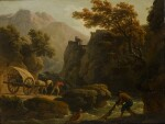 CLAUDE-JOSEPH VERNET | Mountainous river landscape with two fishermen casting a net, and a man with his horse-drawn cart travelling along a sandy path