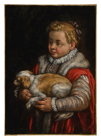 View 1. Thumbnail of Lot 579. Portrait of a young girl with a dog.