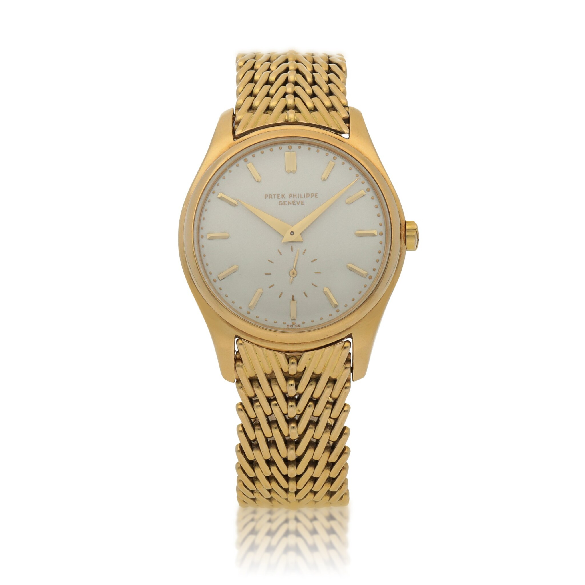 View full screen - View 1 of Lot 79. Ref. 2526J Retailed by Beyer: Yellow gold wristwatch with enamel dial and bracelet Made in 1954 | 零售商為Beyer:百達翡麗 2526J型號黃金鍊帶腕錶配琺瑯錶盤,1954年製.