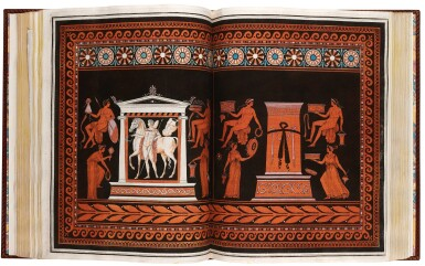 View 1. Thumbnail of Lot 54. Hamilton and d'Hancarville. Collection of Etruscan, Greek, and Roman Antiquities. [1766-67]. 4 volumes. red morocco.