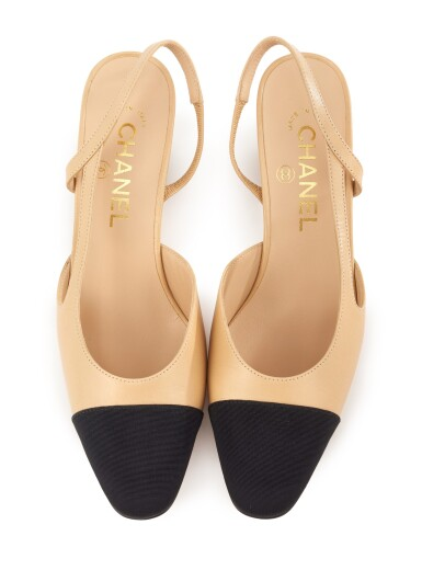 PAIR OF BEIGE LEATHER AND BLACK GROSGRAIN SLINGBACK SANDALS, CHANEL