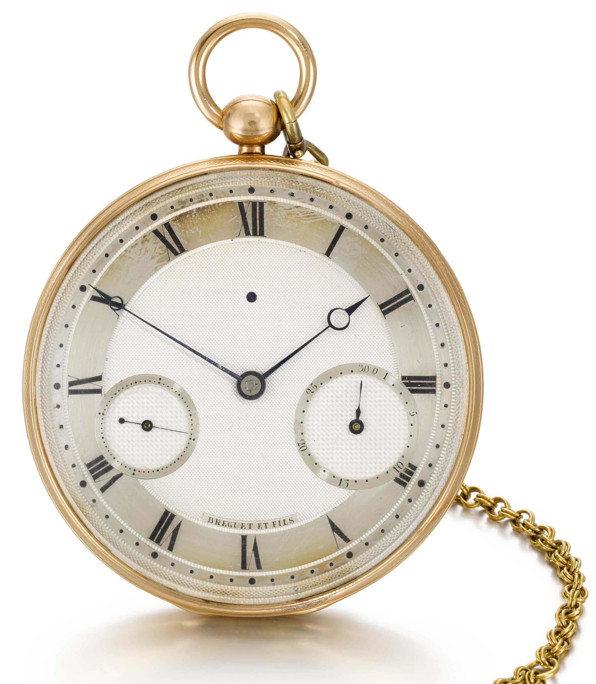 View full screen - View 1 of Lot 57. BREGUET ET FILS   [寶璣]  | A FINE AND UNUSUAL GOLD RUBY CYLINDER WATCH WITH DATE AND SHORT CHAIN  NO. 2348, 'MONTRE SIMPLE' SOLD TO SON ALTESSE ROYALE LE DUC DE CAMBRIDGE ON 10 APRIL 1818 FOR 1172 FRANCS   [罕有黃金懷錶備紅寶石工字輪擒縱機芯、日期及短錶鍊,編號2348,1818年4月10日以1,172法郎售予劍橋公爵殿下].