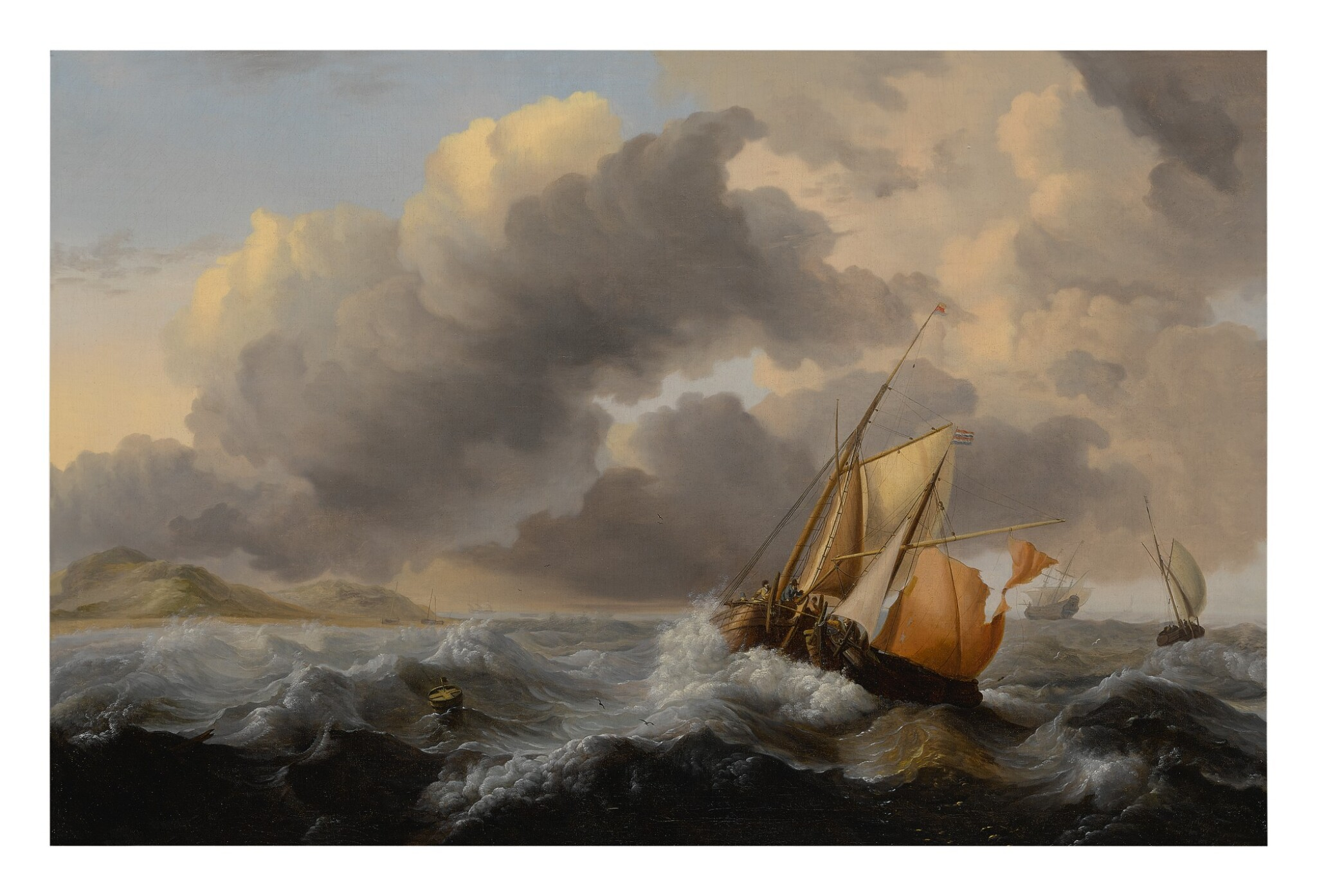 View full screen - View 1 of Lot 622. Ships in a stormy sea, with a dune coast beyond.
