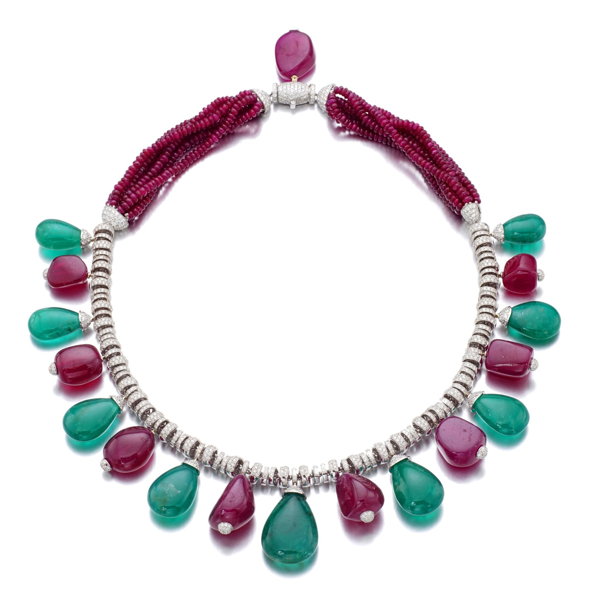 View full screen - View 1 of Lot 13. MICHELE DELLA VALLE | RUBY, EMERALD AND DIAMOND NECKLACE.