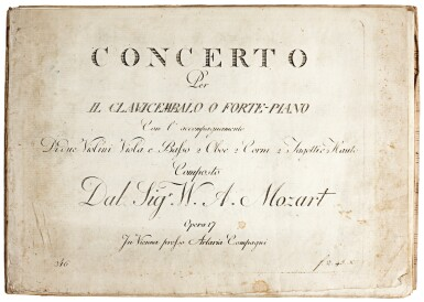 View 1. Thumbnail of Lot 62. W. A. Mozart. First edition of the parts of the Piano Concerto in B flat, K. 595, 1791.