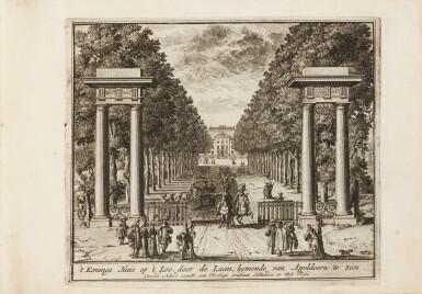 View 1. Thumbnail of Lot 47. Tooneel der Voornaamste... Amsterdam, vers 1695. Relié avec : VALK. Veues et perspectives deSoesdyck..