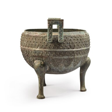 View 4. Thumbnail of Lot 19. An archaic bronze food vessel (Ding), Eastern Zhou dynasty | 東周 青銅交龍紋鼎.
