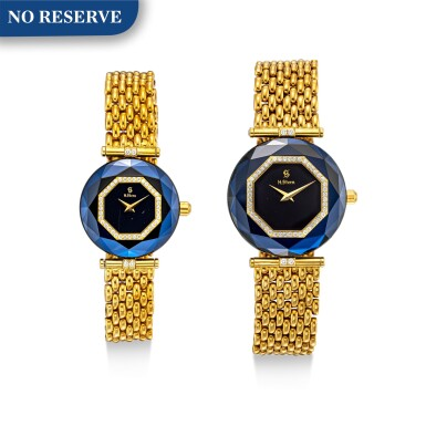View 1. Thumbnail of Lot 1118. H. STERN | A SET OF TWO YELLOW GOLD, DIAMOND AND SAPPHIRE-SET BRACELET WATCHES, CIRCA 1995.
