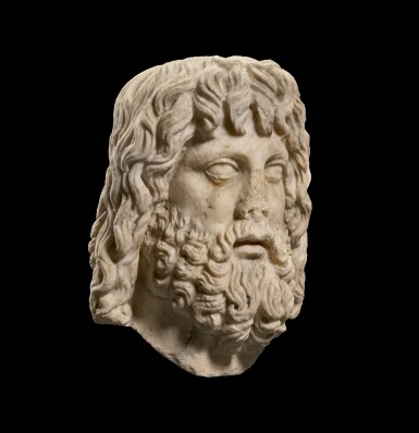 View 2. Thumbnail of Lot 32. A ROMAN MARBLE HEAD OF SARAPIS, CIRCA 2ND CENTURY A.D., ON 19TH CENTURY HERM SHOULDERS.