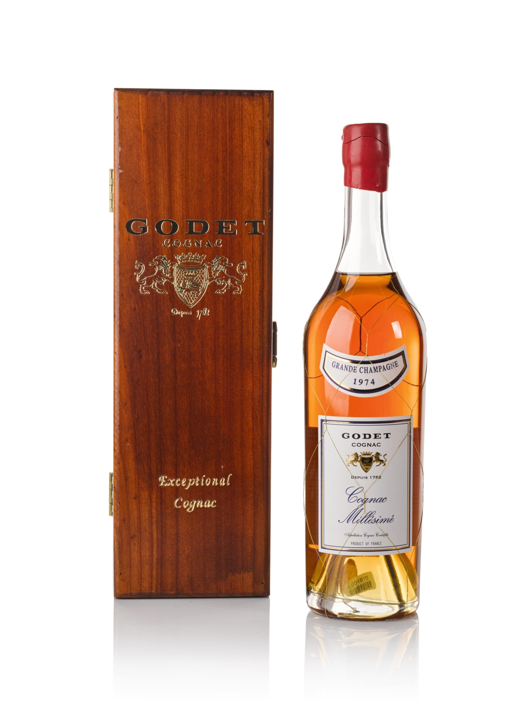 View full screen - View 1 of Lot 122. Godet Cognac Millesime Grande Champage 40.0 abv 1974 .