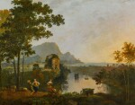 A coastal landscape with figures dancing at the mouth of a river