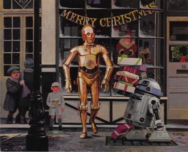 THE EMPIRE STRIKES BACK, EMI ELSTREE STUDIOS CHRISTMAS CARD AND ENVELOPE, BRITISH, 1980