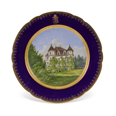 View 18. Thumbnail of Lot 106. An Imperial presentation set of twelve Hutschenreuther porcelain plates, circa 1890.