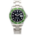 'Kermit Flat 4' Submariner, Ref. 16610T Stainless steel wristwatch with date and bracelet Circa 2004 | 勞力士16610T型號「'Kermit Flat 4' Submariner」精鋼鍊帶腕錶備日期顯示,年份約2004