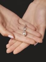 NATURAL PEARL AND DIAMOND PENDANT | 天然珍珠配鑽石吊墜