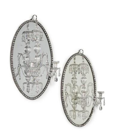 View 2. Thumbnail of Lot 51. A pair of Irish George III mirror chandeliers, circa 1790, in the manner of John Dederek Ayckboum.