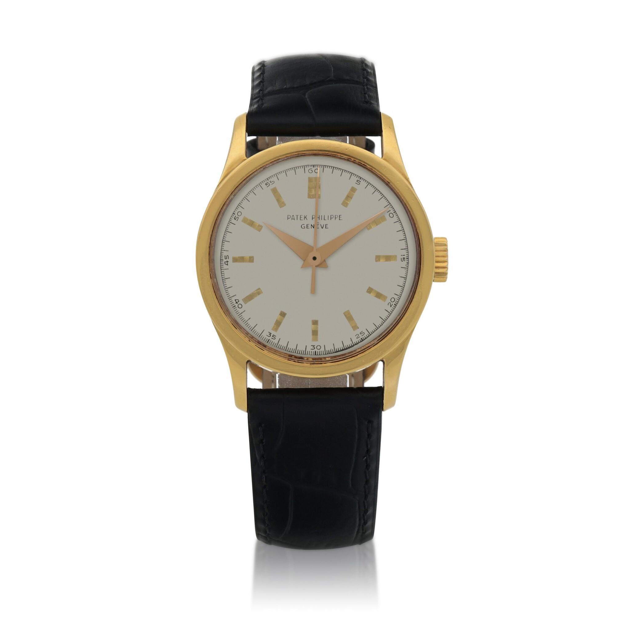 View full screen - View 1 of Lot 85. Ref. 2555 Yellow Gold Wristwatch Made in 1955 | 百達翡麗 2555型號黃金腕錶,1955年製.