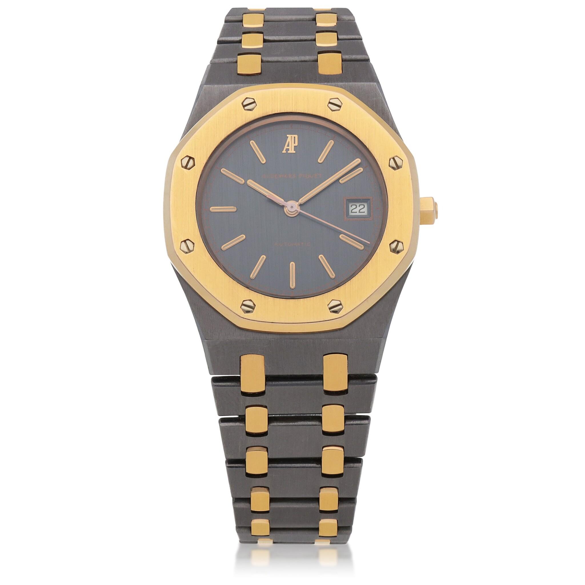 View full screen - View 1 of Lot 521. Royal Oak, Ref. 14486TR Pink gold and tantalum wristwatch with date and bracelet Circa 1993 | 愛彼 14486TR型號「Royal Oak」粉紅金及鉭金屬鍊帶腕錶備日期顯示,年份約1993.