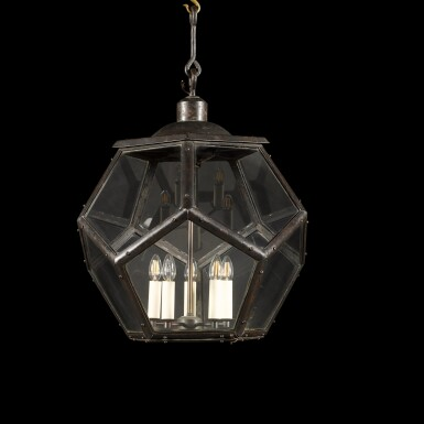 View 4. Thumbnail of Lot 116. A LARGE PATINATED BRASS LANTERN, EARLY 20TH CENTURY, IN THE MANNER OF ADOLF LOOS.