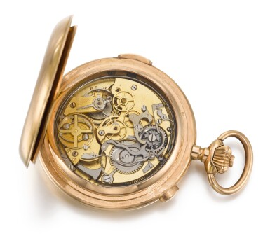 SWISS | A GOLD HUNTING CASED QUARTER REPEATING CHRONOGRAPH WATCH CIRCA 1900