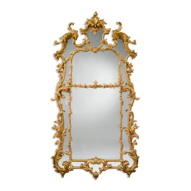 View 1. Thumbnail of Lot 246. A GEORGE III CARVED AND GILTWOOD MIRROR, CIRCA 1765.