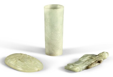 A STUDY GROUP OF THREE CELADON JADE CARVINGS QING DYNASTY, 19TH CENTURY | 清十九世紀 各式玉器一組三件