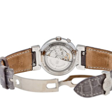 View 5. Thumbnail of Lot 53. Bi-retrograde reference 200/MAB135W A white gold and diamond set automatic wristwatch with retrograde day and and seconds, circa 2005.