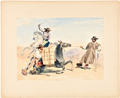 View 4. Thumbnail of Lot 229. Nebel, Carl   Four highly-accomplished watercolors by one of the most important illustrators working in 19th century .