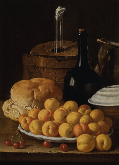 LUIS MELÉNDEZ | Still life with a plate of apricots, cherries, bread, a wine cooler and receptacles | 路易斯・梅蘭戴斯 | 《靜物:碟子上的杏桃、櫻桃、麵包、冰酒器與器皿》