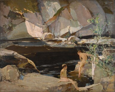 HARRY WATSON, R.W.S., R.O.I. | TWO BOYS BATHING IN A ROCKPOOL