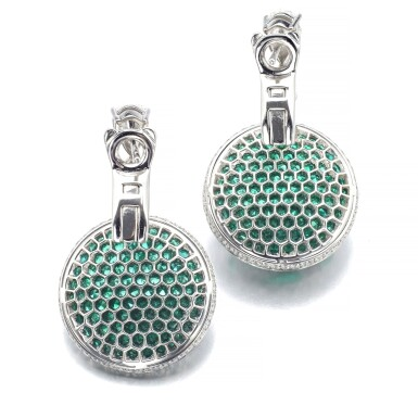 GRAFF | PAIR OF EMERALD AND DIAMOND PENDENT EARRINGS