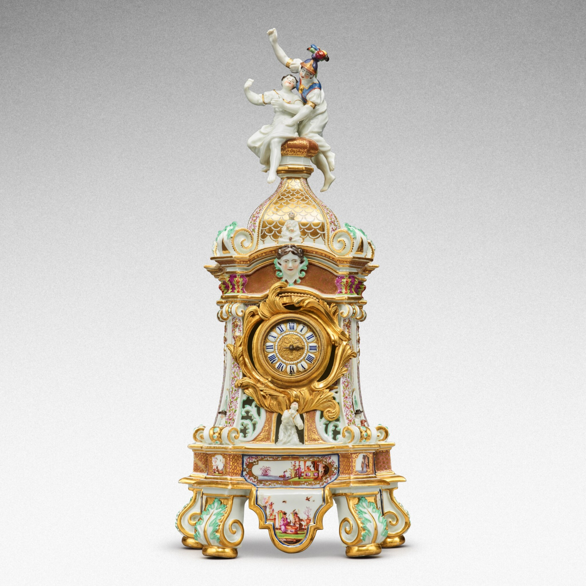 View full screen - View 1 of Lot 64. A highly important documentary and dated Meissen mantel clock case, Dated 1727, the gilt-bronze mount probably German, mid-18th century, the movement signed Barrey à Paris, Circa 1700 .