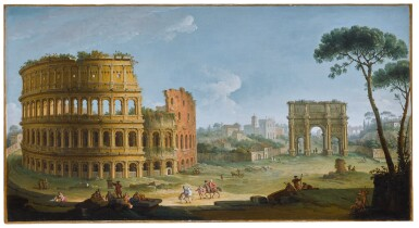 ANTONIO JOLI | Rome, a view of the Colosseum and the Arch of Constantine