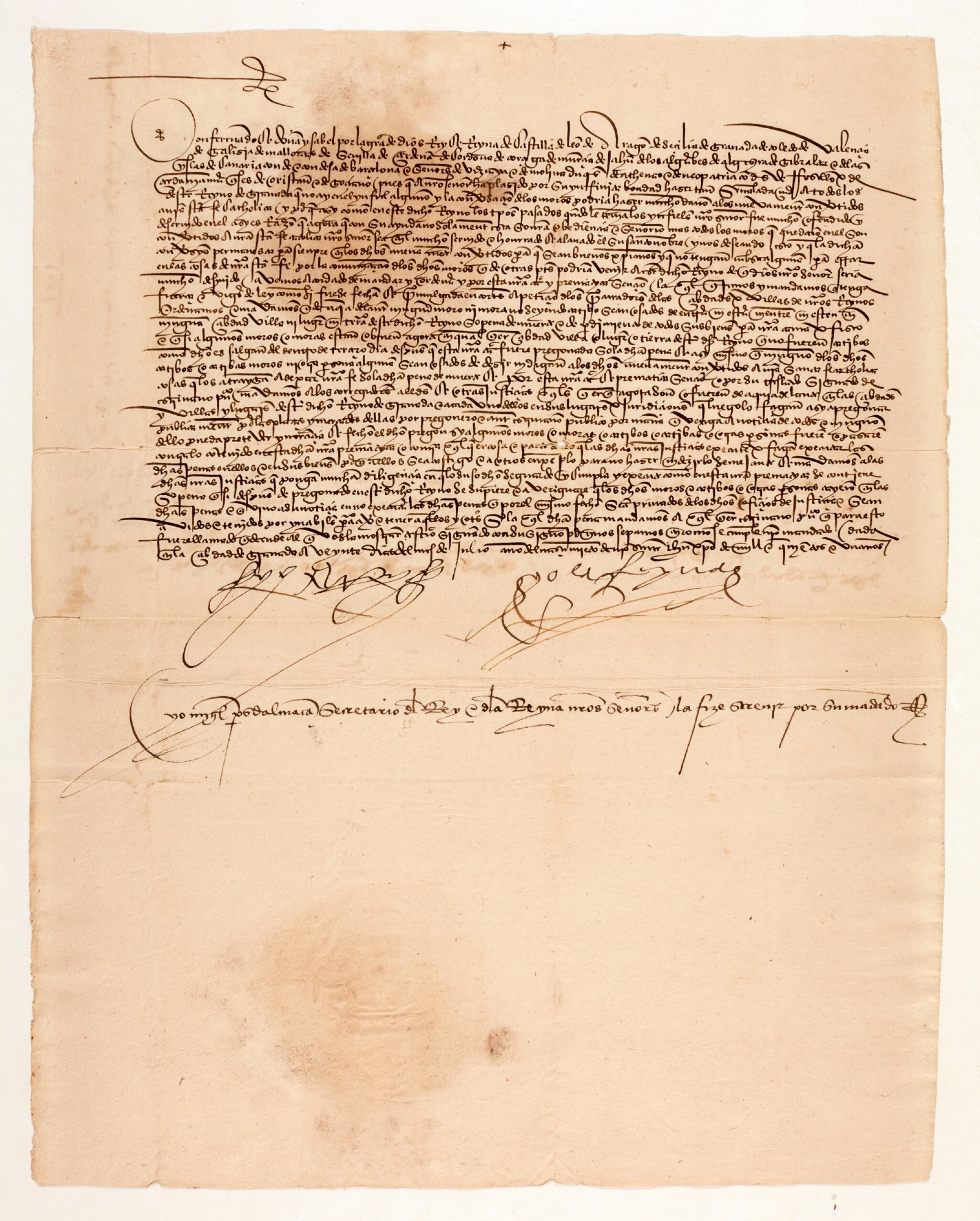 View full screen - View 1 of Lot 45. FERDINAND AND ISABELLA, King and Queen of Spain | document signed, expelling unconverted Moors, 1501.