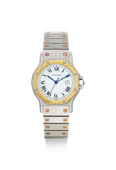 CARTIER | SANTOS OCTAGONAL, A YELLOW GOLD AND STAINLESS STEEL WRISTWATCH WITH DATE AND BRACELET, CIRCA 1990