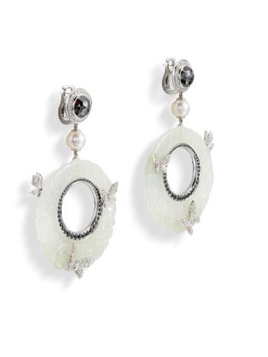View 2. Thumbnail of Lot 8013. Pair of Jade, Diamond and Cultured Pearl Pendent Earrings | 翡翠 配 鑽石 及 養殖珍珠 耳環一對.