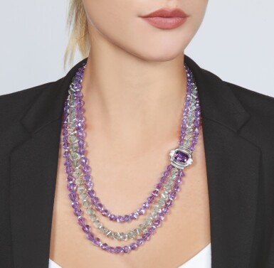 View 3. Thumbnail of Lot 17. AMETHYST, PRASIOLITE AND DIAMOND NECKLACE, MICHELE DELLA VALLE.