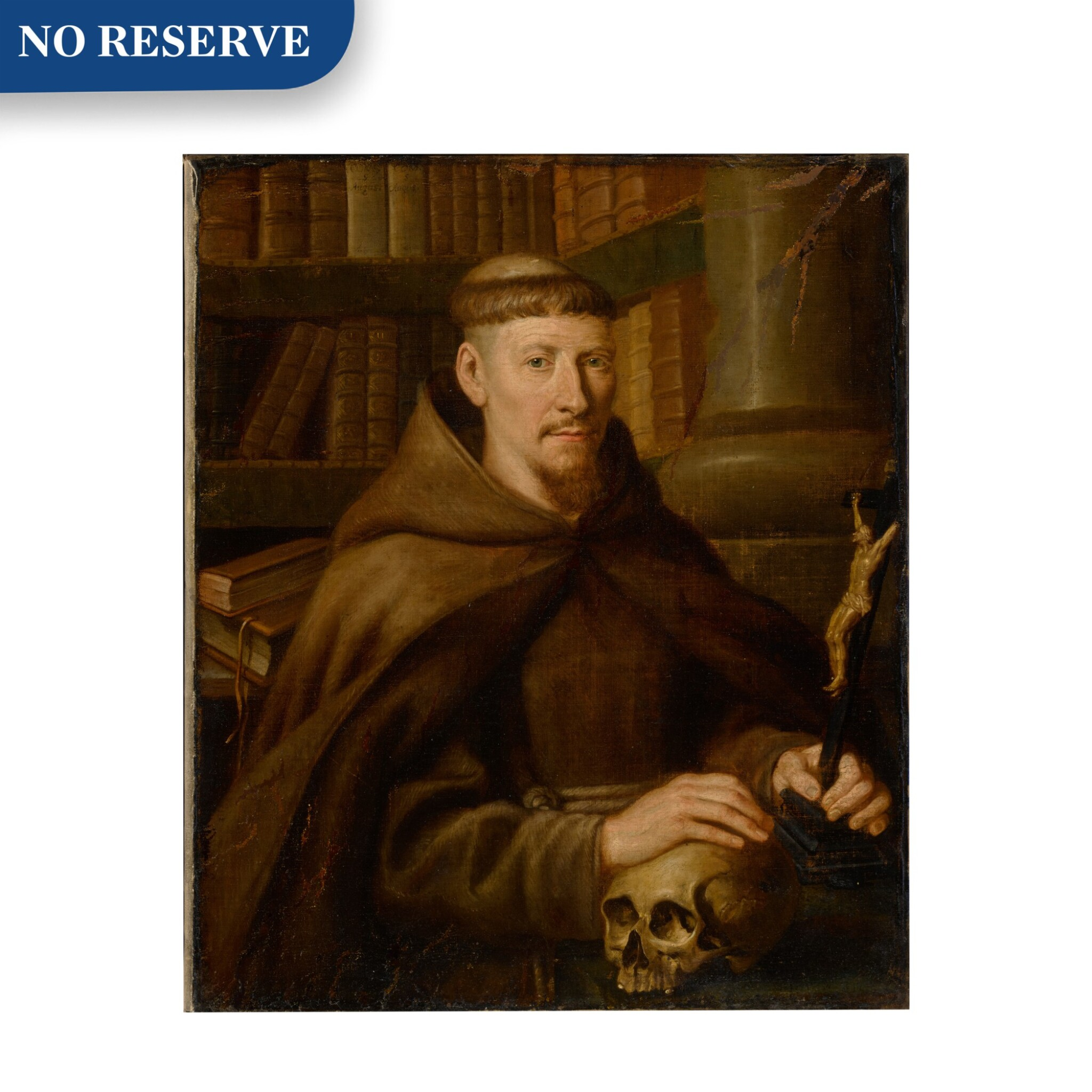 View full screen - View 1 of Lot 39. Portrait of a Capuchin monk in a library.