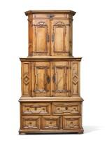 A SWISS WALNUT AND BURR WALNUT THREE-TIER CABINET, THIRD QUARTER 17TH CENTURY