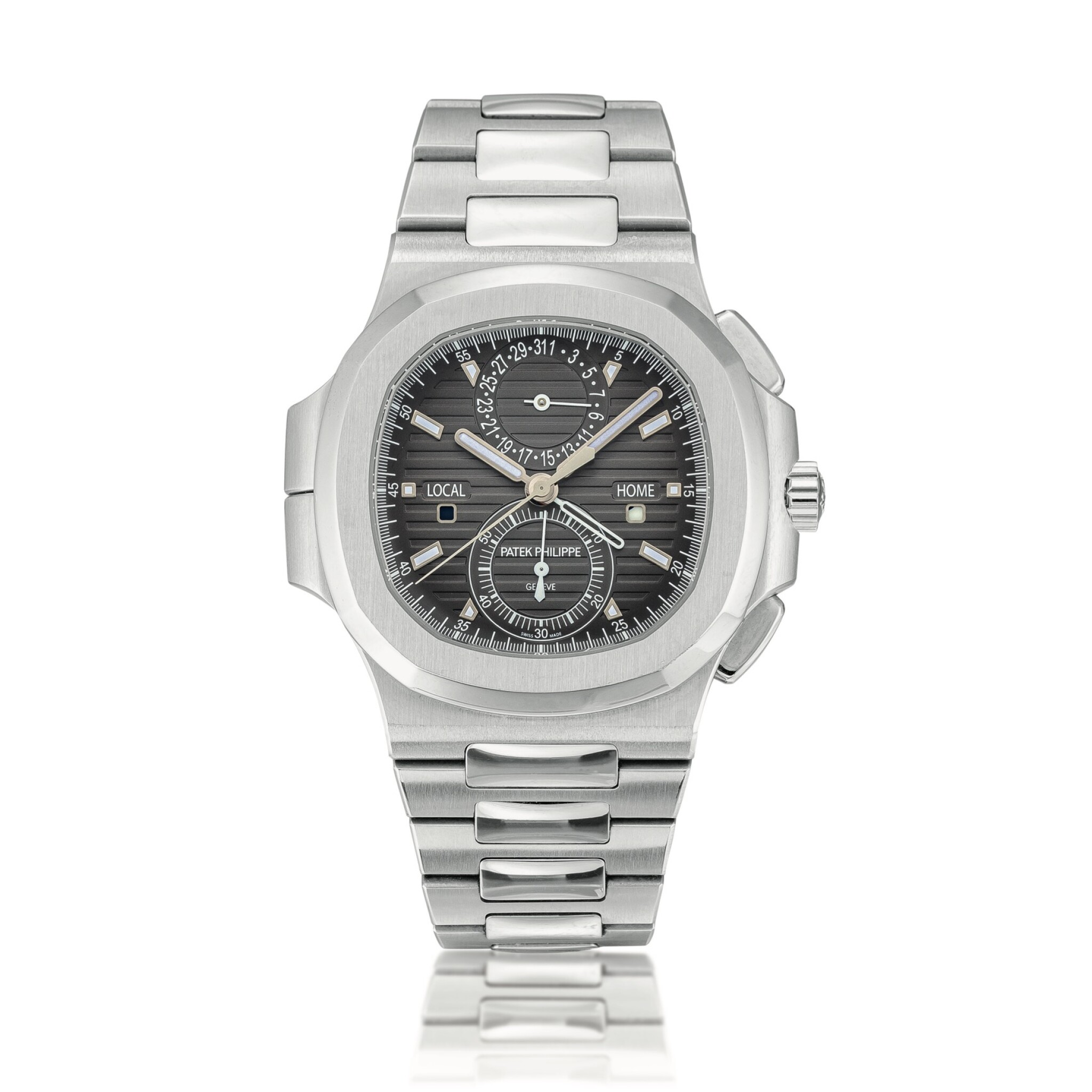 View full screen - View 1 of Lot 2066. Patek Philippe | Nautilus, Reference 5990, A stainless steel dual time zone flyback chronograph bracelet watch with date, Circa 2014 | 百達翡麗 | Nautilus 型號5990   精鋼兩地時間飛返計時鏈帶腕錶,備日期顯示,約2014年製.