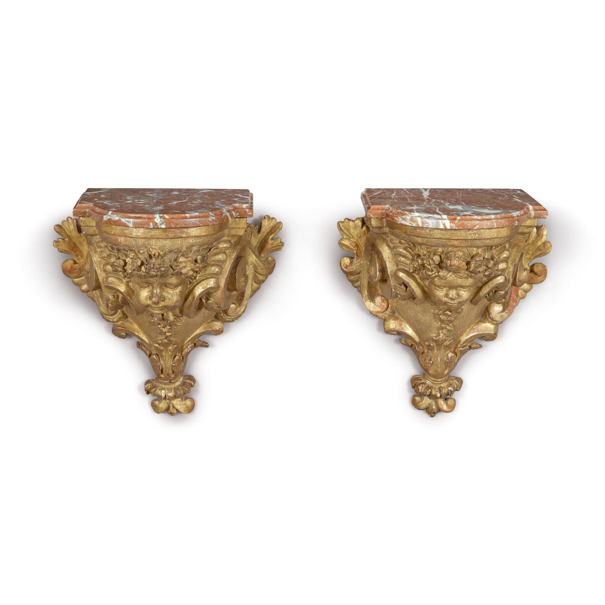 View full screen - View 1 of Lot 717. A PAIR OF RÉGENCE GILTWOOD BRACKETS, EARLY 18TH CENTURY.
