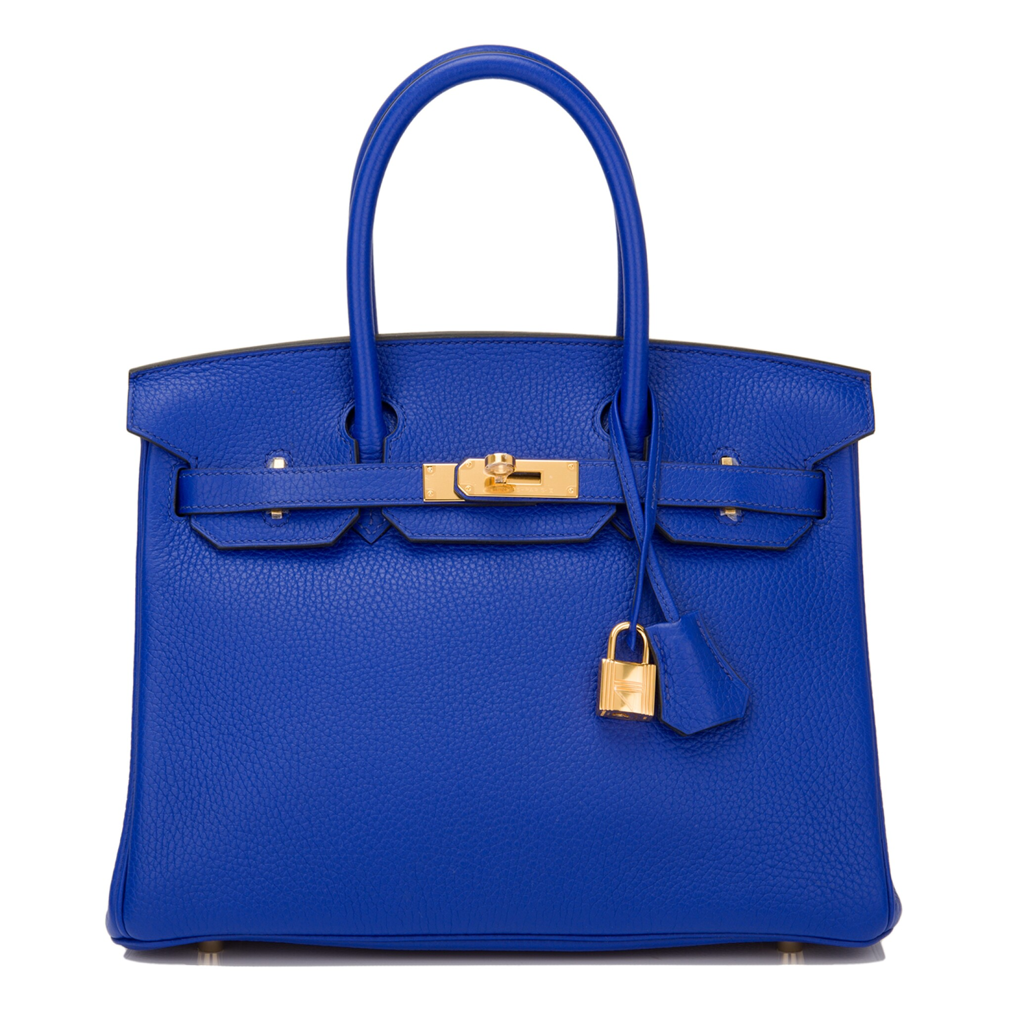 View full screen - View 1 of Lot 13. Hermès Bleu Electrique Birkin 30cm of Clemence Leather with Gold Hardware.