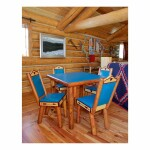 WYOMING FURNITURE COMPANY   GAMES TABLE AND FOUR PANEL-BACK CHAIRS