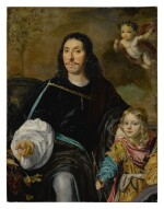 Portrait of a gentleman and a young boy, both three-quarter length, with a putto